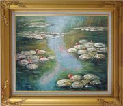 Water Lilies, Monet Reproduction Oil Painting Landscape River Impressionism Gold Wood Frame with Deco Corners 27 x 31 inches