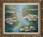 Water Lilies, Monet Reproduction Oil Painting Landscape River Impressionism Ornate Antique Dark Gold Wood Frame 26 x 30 inches