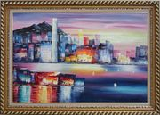 Victoria Bay Skyline Of Hong Kong Oil Painting Cityscape China Modern Exquisite Gold Wood Frame 30 x 42 inches