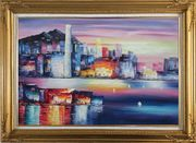 Victoria Bay Skyline Of Hong Kong Oil Painting Cityscape China Modern Gold Wood Frame with Deco Corners 31 x 43 inches