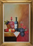 Still Life with Wine Bottle, Glass of Red Wine, and Fruits Oil Painting Classic Gold Wood Frame with Deco Corners 43 x 31 inches