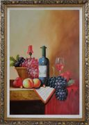 Still Life with Wine Bottle, Glass of Red Wine, and Fruits Oil Painting  Ornate Antique Dark Gold Wood Frame 42