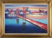 Bay Bridge To San Francisco Oil Painting Cityscape America Modern Gold Wood Frame with Deco Corners 31 x 43 inches