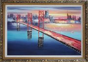 Bay Bridge To San Francisco Oil Painting Cityscape America Modern Ornate Antique Dark Gold Wood Frame 30 x 42 inches