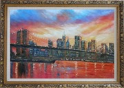 Brooklyn Bridge and Manhattan Skyline Oil Painting Cityscape America Impressionism Ornate Antique Dark Gold Wood Frame 30 x 42 inches