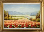 Tuscan Flower Sea of Red and Yellow Oil Painting Landscape Field Italy Naturalism Gold Wood Frame with Deco Corners 31 x 43 inches
