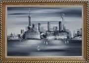 Shanghai Skyline, Huangpu River Oil Painting Cityscape Black White Modern Exquisite Gold Wood Frame 30 x 42 inches