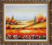 Tuscan Poppies And Cypress Oil Painting Landscape Field Italy Naturalism Ornate Antique Dark Gold Wood Frame 26 x 30 inches