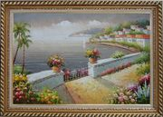 Mediterranean Flower Garden Under Cloud Oil Painting Naturalism Exquisite Gold Wood Frame 30 x 42 inches