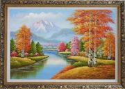 River and Yellow Birch Forest In Fall Oil Painting Landscape Tree Autumn Naturalism Ornate Antique Dark Gold Wood Frame 30 x 42 inches