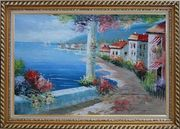 Romantic Flower-Covered Pillar and Terrace near Mediterranean Coastal Village Oil Painting Naturalism Exquisite Gold Wood Frame 30 x 42 inches