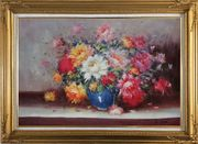 Mixed Flower Bouquet in Blue Vase Oil Painting Still Life Naturalism Gold Wood Frame with Deco Corners 31 x 43 inches