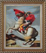 Napoleon Crossing the Alps, Jacques-Louis David Oil Painting Portraits Classic Exquisite Gold Wood Frame 30 x 26 inches