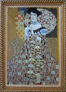 Portrait Of Adele Bloch-Bauer, Gustav Klimt Replica Oil Painting Portraits Couple Modern Exquisite Gold Wood Frame 42 x 30 inches