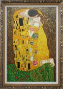 The Kiss, Gustav Klimt Replica Oil Painting Portraits Couple Modern Ornate Antique Dark Gold Wood Frame 42 x 30 inches