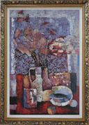 Vase of Flowers, Cup, Plate, Fruit and Pot Oil Painting Still Life Bouquet Impressionism Ornate Antique Dark Gold Wood Frame 42 x 30 inches