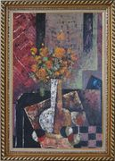 Modern Still Life of Vase Flower and Objects Oil Painting Bouquet Impressionism Exquisite Gold Wood Frame 42 x 30 inches