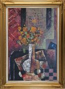 Modern Still Life of Vase Flower and Objects Oil Painting Bouquet Impressionism Gold Wood Frame with Deco Corners 43 x 31 inches