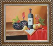 Still Life of Wine Bottle, Glass of Red Wine, Grapes, and Peaches Oil Painting Fruit Classic Exquisite Gold Wood Frame 26 x 30 inches