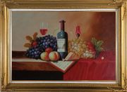Still Life of Wine Bottle, Glass of Red Wine, Grapes, and Peaches Oil Painting Fruit Classic Gold Wood Frame with Deco Corners 31 x 43 inches