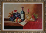 Still Life of Wine Bottle, Glass of Red Wine, Grapes, and Peaches Oil Painting Fruit Classic Ornate Antique Dark Gold Wood Frame 30 x 42 inches