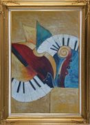 Musical Instruments Oil Painting Still Life Modern Gold Wood Frame with Deco Corners 43 x 31 inches