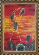 Green Leaves in Red and Yellow Background Oil Painting Flower Modern Exquisite Gold Wood Frame 42 x 30 inches