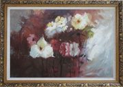 Flowers in Genial Sunlight Oil Painting Impressionism Ornate Antique Dark Gold Wood Frame 30 x 42 inches