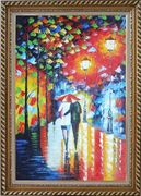 Lovers Walking On Rainy Day Street at Night Oil Painting Portraits Couple Modern Exquisite Gold Wood Frame 42 x 30 inches