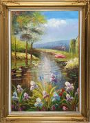 Flowers and Pond with Water Waterlily Oil Painting Impressionism Gold Wood Frame with Deco Corners 43 x 31 inches