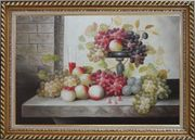 Still Life of Glass of Red Wine with Grapes and Peaches Oil Painting Fruit Classic Exquisite Gold Wood Frame 30 x 42 inches