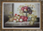 Still Life of Glass of Red Wine with Grapes and Peaches Oil Painting Fruit Classic Ornate Antique Dark Gold Wood Frame 30 x 42 inches