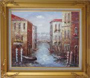 Parking Boats and Small Bridge of Canal of Venice Oil Painting Italy Impressionism Gold Wood Frame with Deco Corners 27 x 31 inches