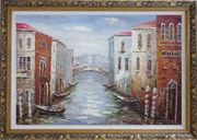 Parking Boats and Small Bridge of Canal of Venice Oil Painting Italy Impressionism Ornate Antique Dark Gold Wood Frame 30 x 42 inches