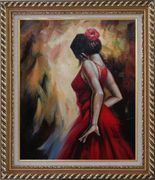 Elegant Spanish Flamenco Dancer with Long Red Skirt Oil Painting Portraits Woman Impressionism Exquisite Gold Wood Frame 30 x 26 inches