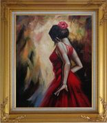 Elegant Spanish Flamenco Dancer with Long Red Skirt Oil Painting Portraits Woman Impressionism Gold Wood Frame with Deco Corners 31 x 27 inches