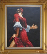 Passion of Flamenco Oil Painting Portraits Woman Dancer Impressionism Gold Wood Frame with Deco Corners 31 x 27 inches
