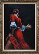 Passion of Flamenco Oil Painting Portraits Woman Dancer Impressionism Ornate Antique Dark Gold Wood Frame 42 x 30 inches