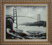 Black and White San Francisco Golden Gate Bridge Oil Painting Seascape America Naturalism Exquisite Gold Wood Frame 26 x 30 inches