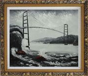 Black and White San Francisco Golden Gate Bridge Oil Painting Seascape America Naturalism Ornate Antique Dark Gold Wood Frame 26 x 30 inches