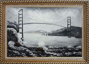 Black and White San Francisco Golden Gate Bridge Oil Painting  Exquisite Gold Wood Frame 30