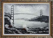 Black and White San Francisco Golden Gate Bridge Oil Painting Seascape America Naturalism Ornate Antique Dark Gold Wood Frame 30 x 42 inches