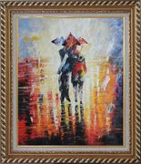 Couple Walking Under Umbrella in Rain Oil Painting  Exquisite Gold Wood Frame 30