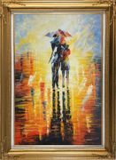 Couple Walking Under Umbrella in Rain Oil Painting Portraits Impressionism Gold Wood Frame with Deco Corners 43 x 31 inches