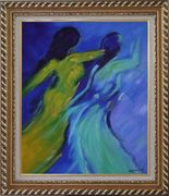 Women in Wind Oil Painting Portraits Woman Modern Exquisite Gold Wood Frame 30 x 26 inches