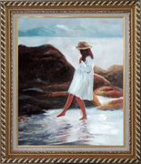 A Loverly Young Girl Playing Water at Beach Oil Painting Portraits Child Impressionism Exquisite Gold Wood Frame 30 x 26 inches
