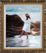 A Loverly Young Girl Playing Water at Beach Oil Painting Portraits Child Impressionism Ornate Antique Dark Gold Wood Frame 30 x 26 inches