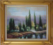 Tall Green Trees on River Bank Oil Painting Landscape Classic Gold Wood Frame with Deco Corners 27 x 31 inches
