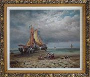 Commerce Ships On Beach Oil Painting Boat Classic Ornate Antique Dark Gold Wood Frame 26 x 30 inches