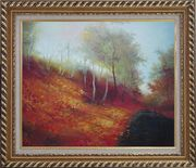 Water Stream in a Ditch Full of Red Foliage Oil Painting Landscape River Naturalism Exquisite Gold Wood Frame 26 x 30 inches